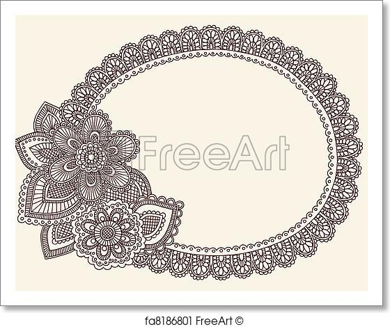 560x470 Free Art Print Of Lace Doily Henna Frame Vector. Hand Drawn Lace