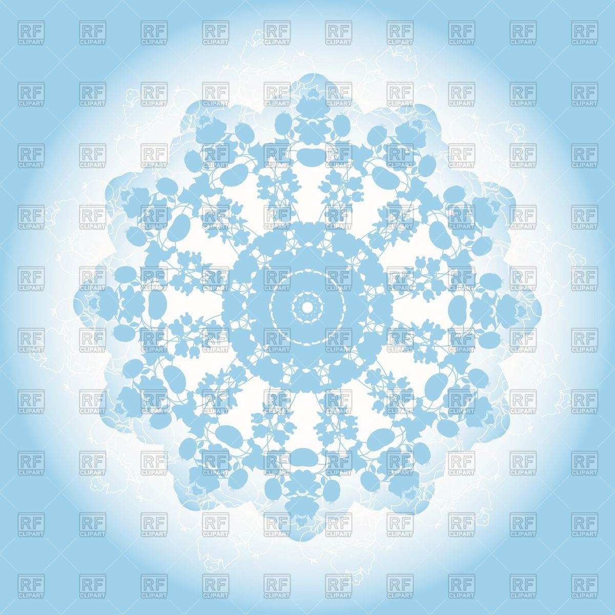 1200x1200 Blue Lacy Doily Or Snowflake Vector Image Vector Artwork Of