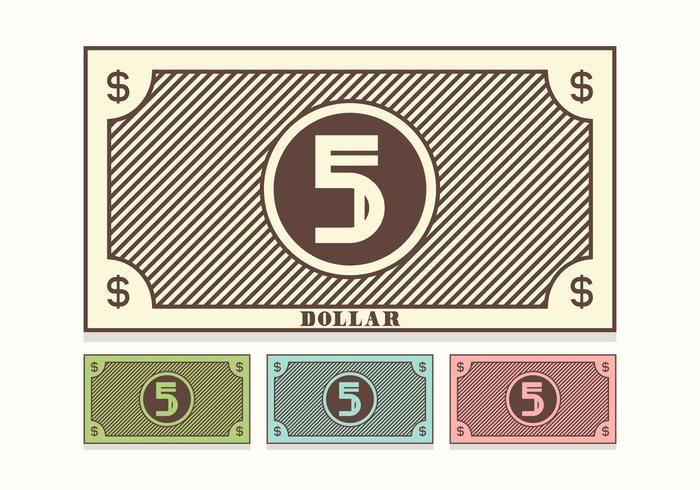 700x490 Retro 5 Dollar Bill Vector