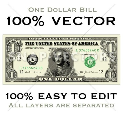 400x373 Vector Clipart Money One Dollar Bill