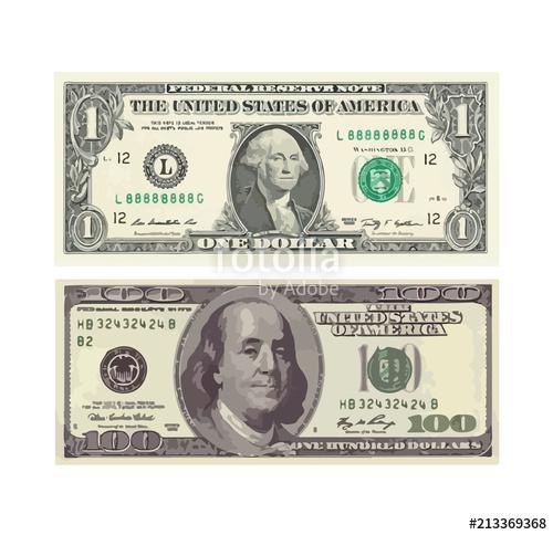 500x484 A Hundred Dollar And One Dollar Bill. Vector Illustration Stock