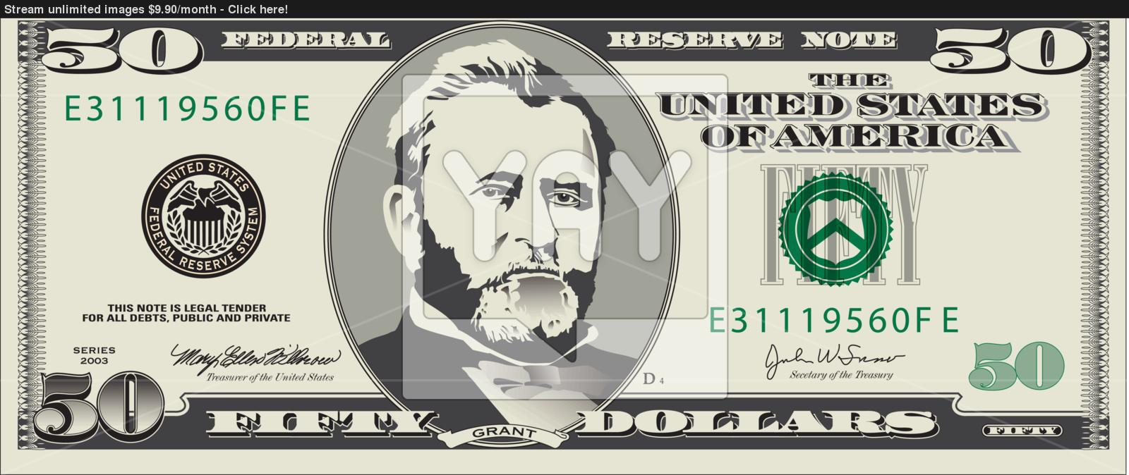 1600x674 Fifty Dollar Bill Vector