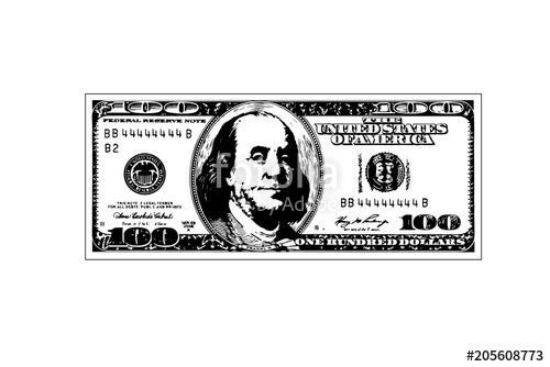 500x334 Hundred Dollar Bill. Vector Illustration Stock Image And Royalty