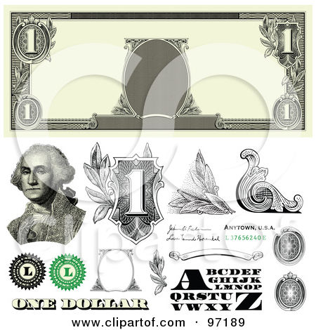 450x470 Dollar Bill Template Clipart