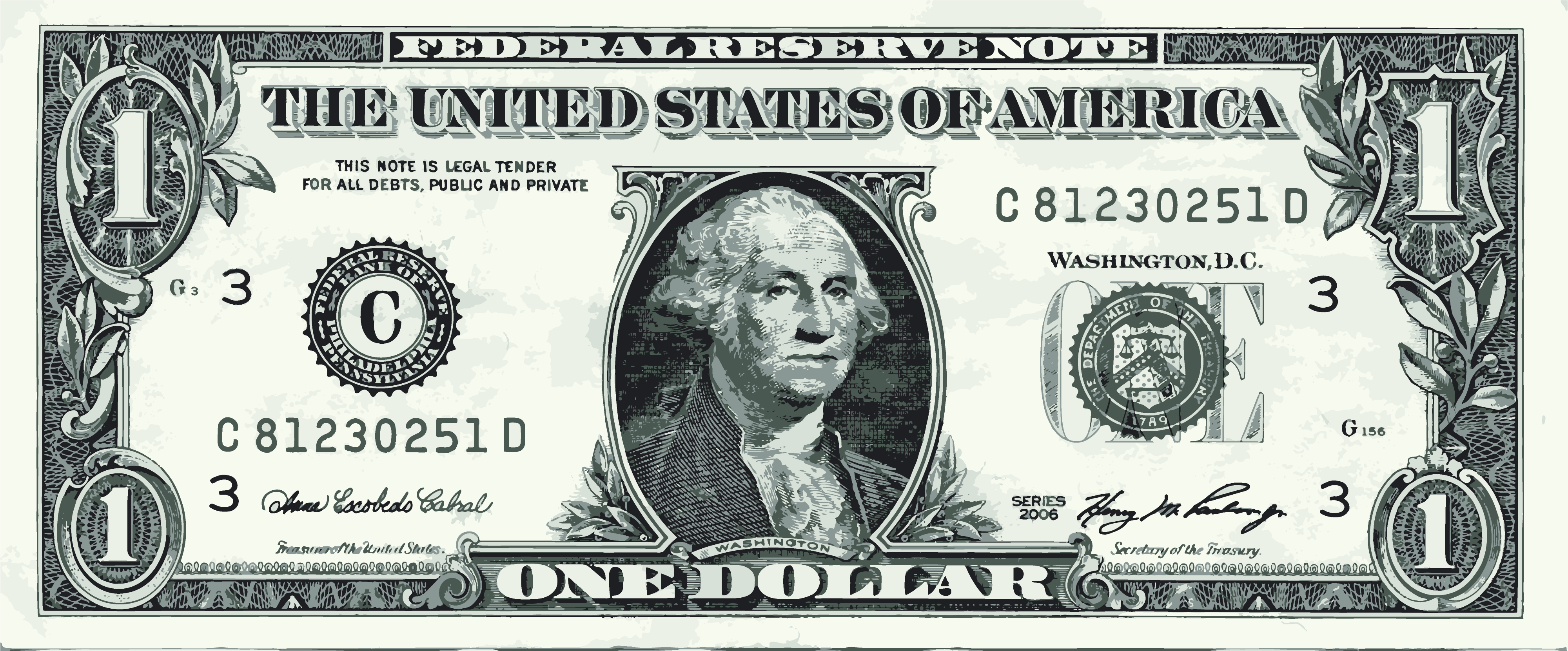 4000x1661 George Washington One Dollar Bill Vector Graphic Art Free Vector