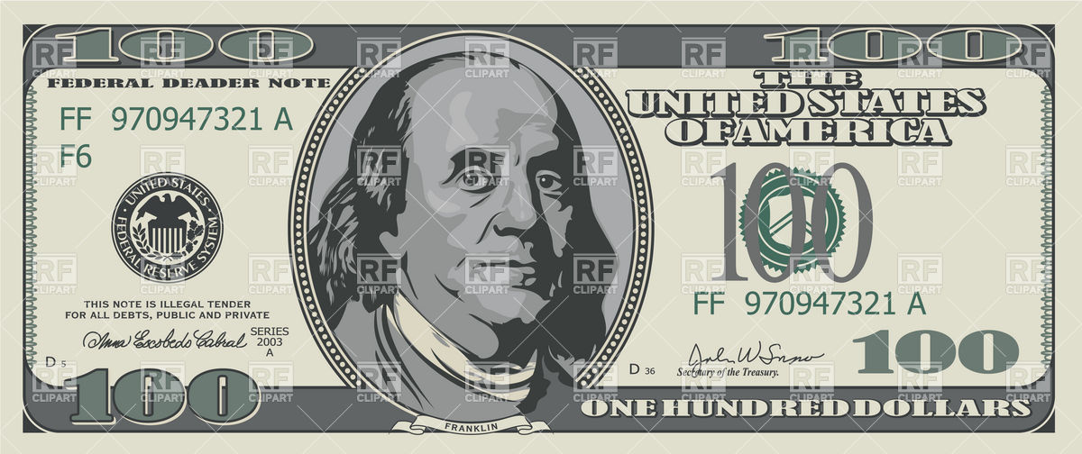 1200x504 Free Dollar Bill Clip Art One Hundred Dollars Banknote Royalty