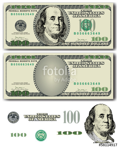 405x500 100 Dollar Bill With Easy Removable Elements Stock Image And