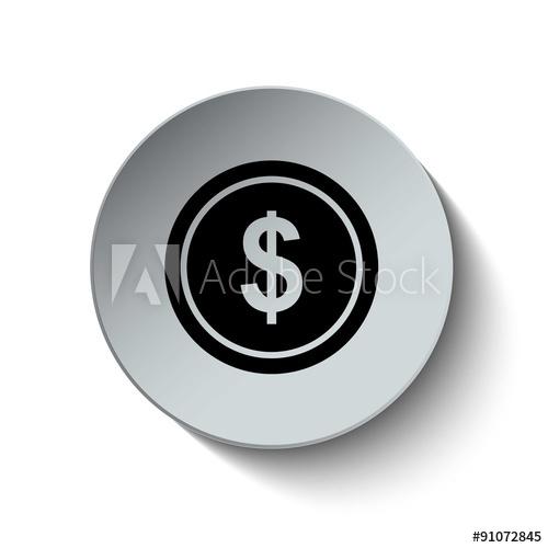 500x500 Dollar Sign. Money Icon. Coin Icon. Dollar Icon. Vector Illustra