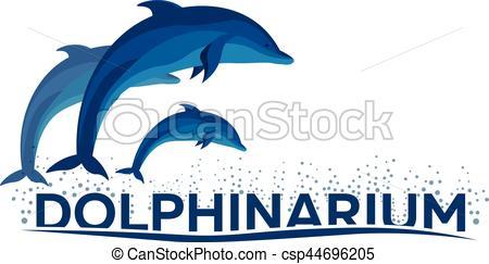450x243 Dolphinarium. Dolphin Logo. Banner. Vector Flat Illustration