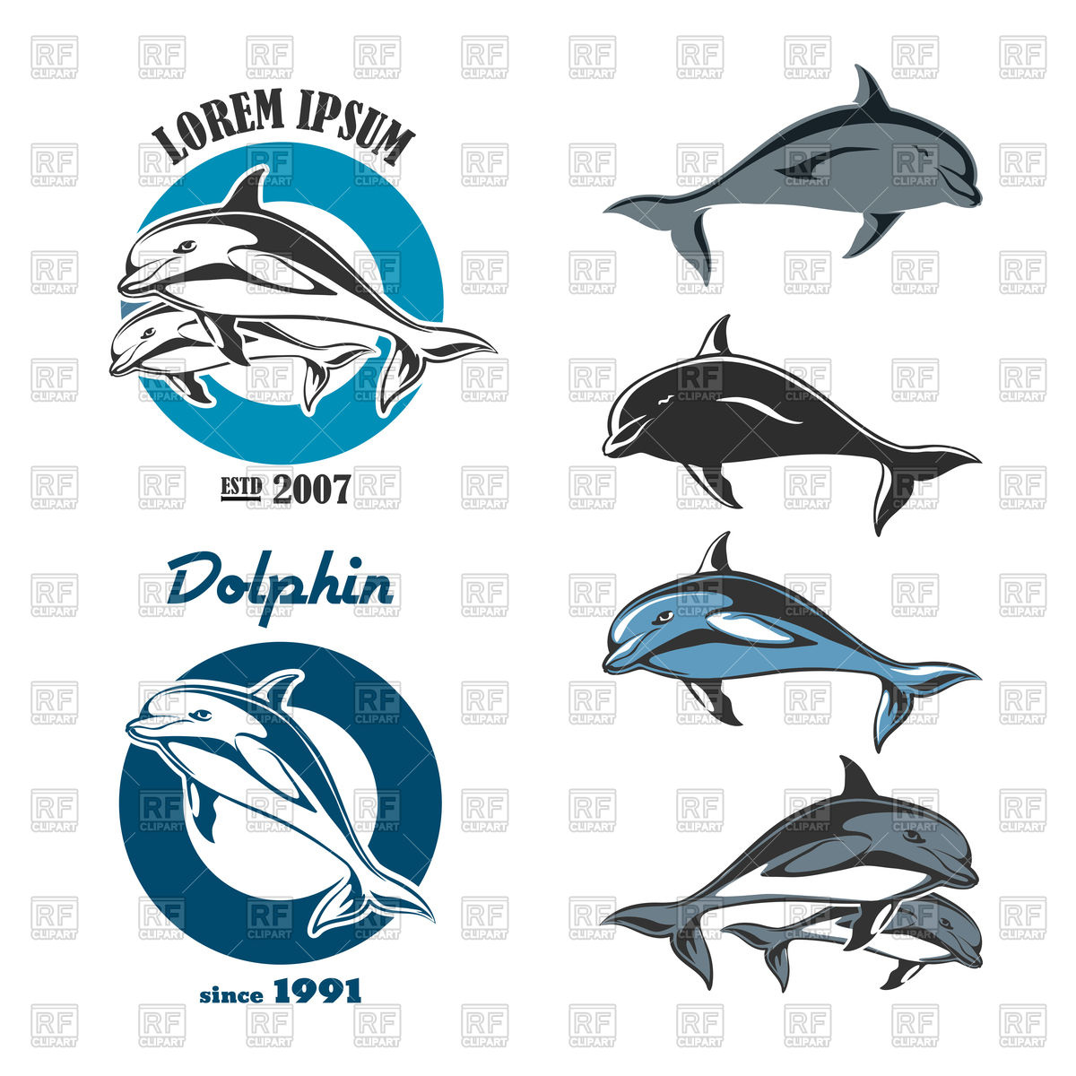 1200x1200 Set Of Emblems Of Dolphin Vector Image Vector Artwork Of Plants