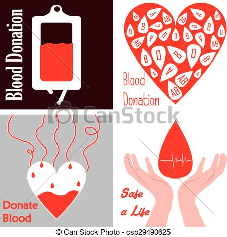 450x470 Blood Donation. Set Of Images With Different Elements For Blood