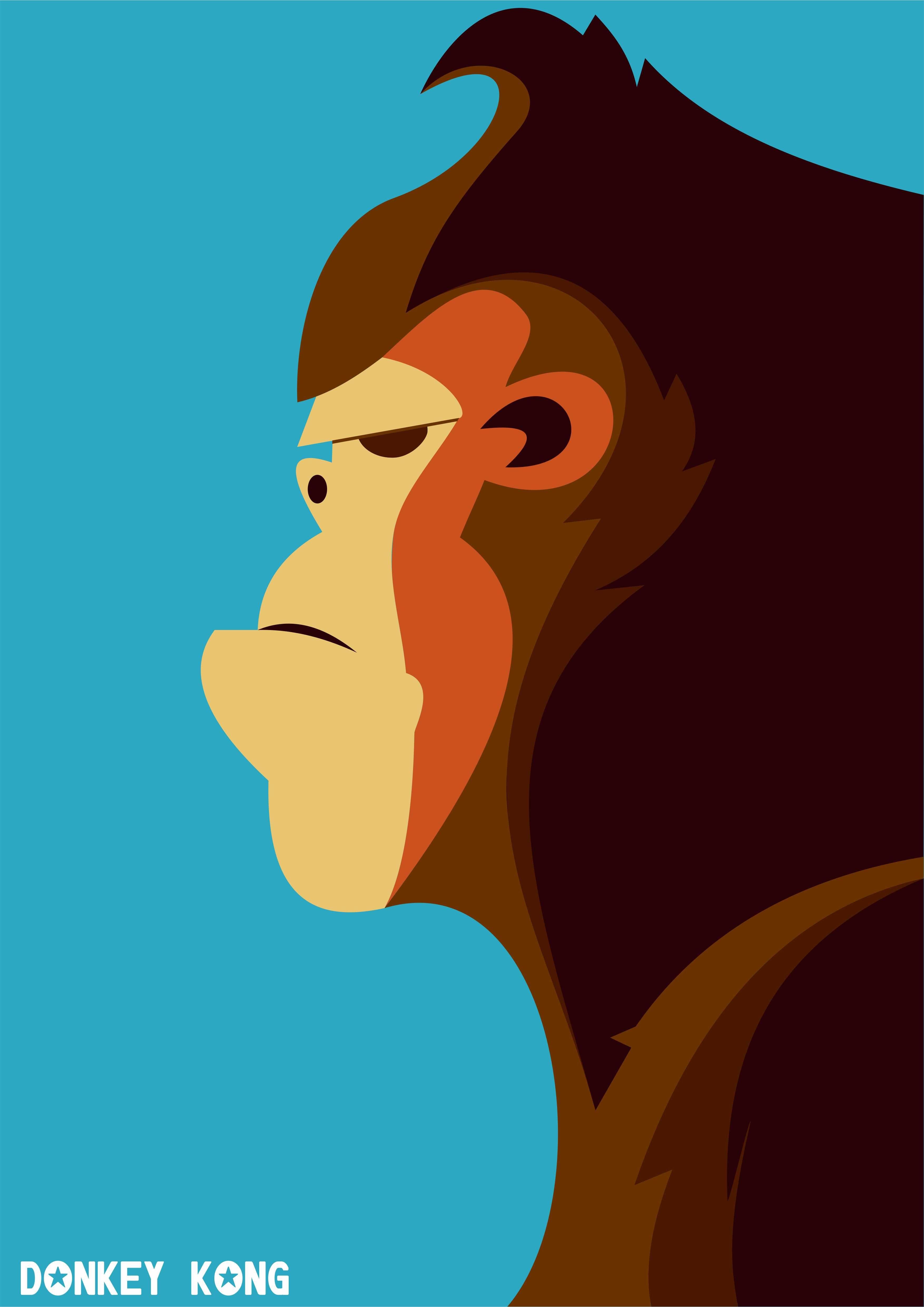 3508x4962 Donkey Kong 1 Vectorflatfontdesign Donkey