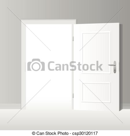 450x470 Wide Open White Door. Wide Open White Door To A Bright White Room