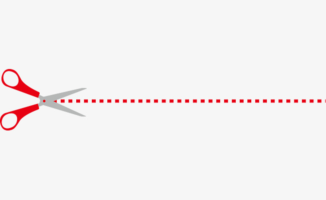 650x400 Red Cartoon Vector Scissors Dotted Line, Dotted Line, Dotted Line