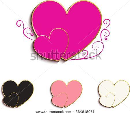 450x398 Double Hearts Icon Color Floral Design