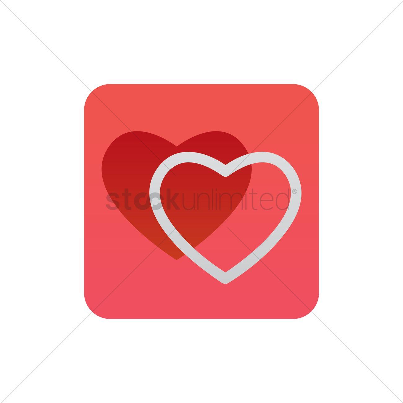 1300x1300 Double Hearts Icon Vector Image