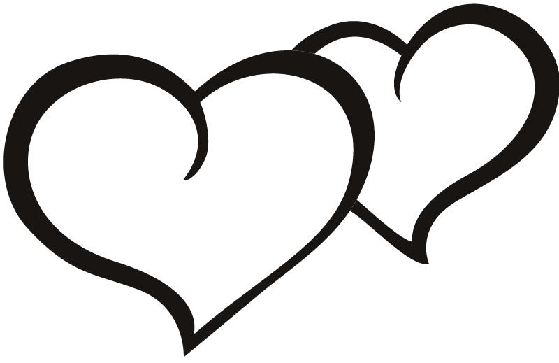 800x519 Collection Of Double Heart Outline Clipart High Quality