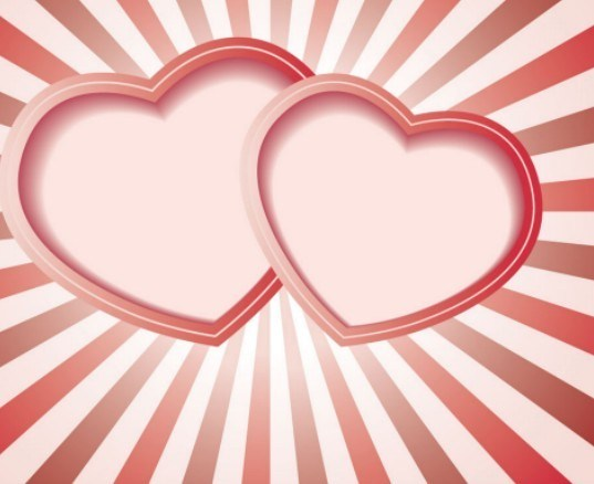 537x438 Free Pink Double Hearts Vector Frame