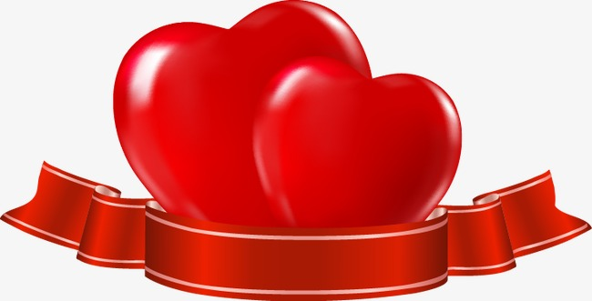 650x331 Painted Red Double Heart Ribbon Pattern, Heart Vector, Ribbon