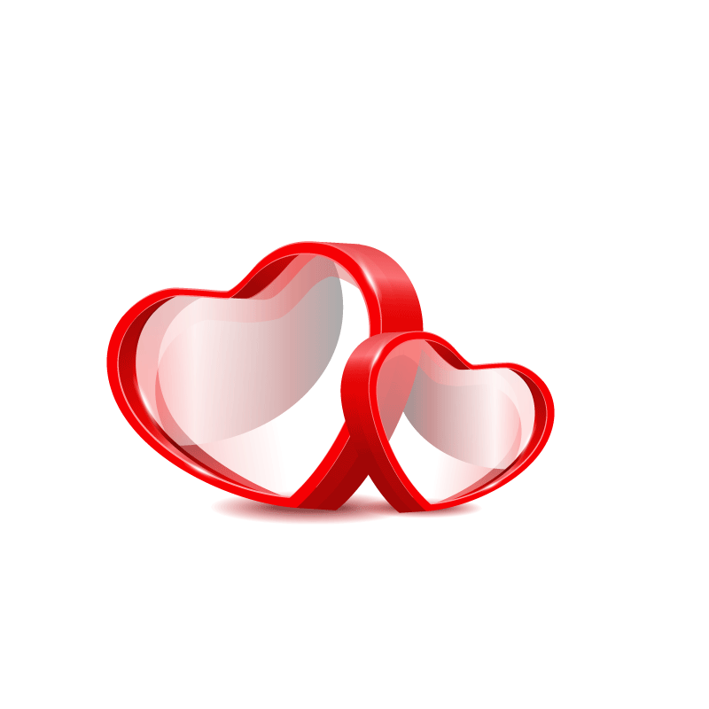 800x800 Three Dimensional Red Double Heart Vector Material 800800
