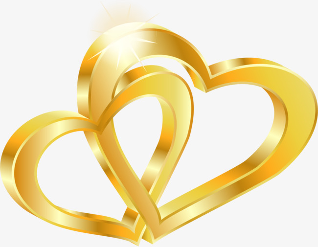 650x505 Vector Gold Double Heart, Vector, Golden, Double Heart Png And