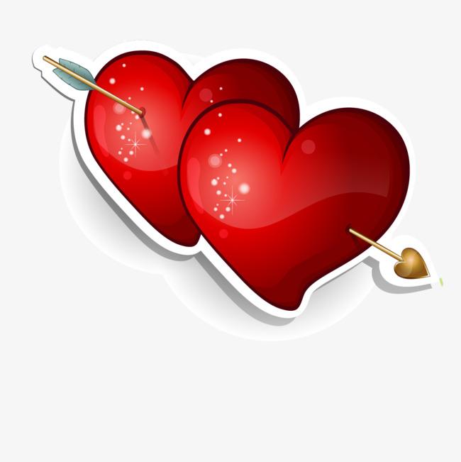 650x651 Cartoon Heart Vector, Cartoon Vector, Heart Vector, Double Heart