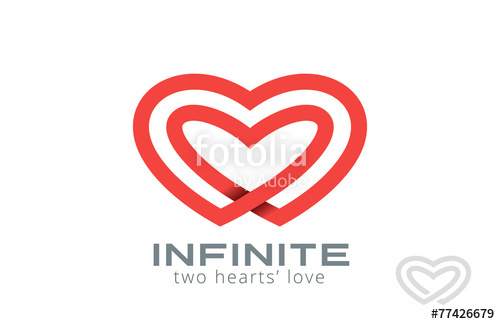 500x324 Double Looped Infinity Hearts Logo Design Vector Stock Image And