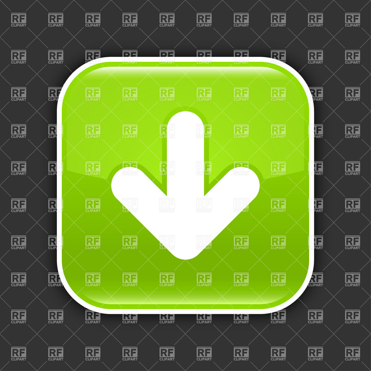 1200x1200 Glossy Green Download Button With White Arrow Vector Image