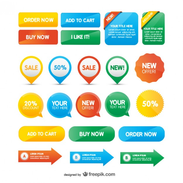 626x626 Website Buttons Vector Free Download