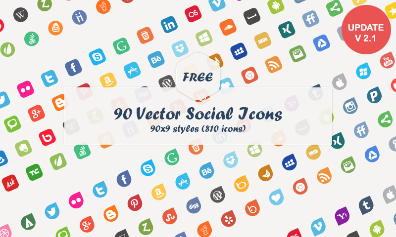 800x480 Free Download 90 Vector Social Media Icons