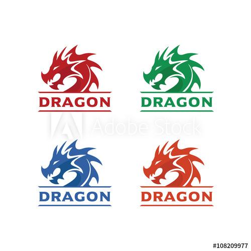 500x500 Dragon Head Logo Template, Dragon Brand Identity, Dragon Logo