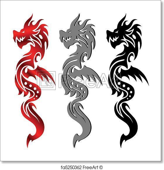 561x581 Free Art Print Of Dragon, Tribal Tattoo. Tribal Tattoo Dragon