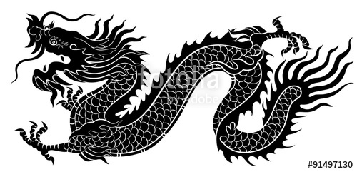 500x241 Silhouette Of Chinese Dragon Crawling Stock Image And Royalty