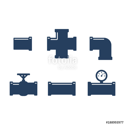 500x500 Pipe Fittings Vector Icons Set. Tube Industry, Construction