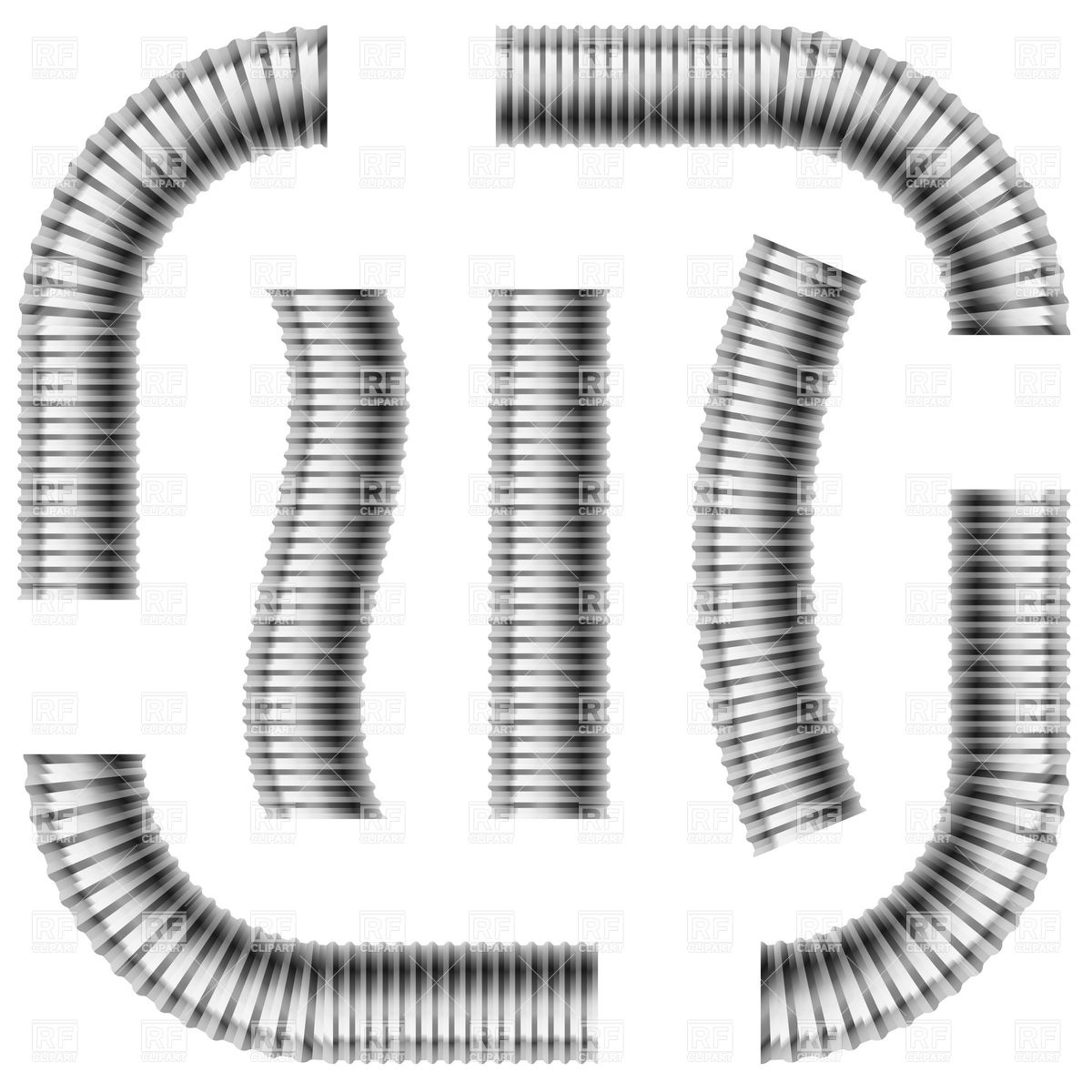 1200x1200 Set Of Gray Corrugated Drain Pipes Vector Image Vector Artwork