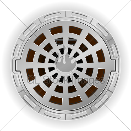 500x500 Closed Sewer Pit With A Hatch Vector Illustration Gl Stock Images