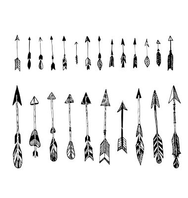 380x400 Set Of Hand Drawn Arrows Ethnic Arrow Vector Art