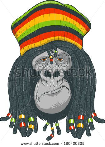 337x470 Vector Illustration Gorilla With Dreadlocks And Cap God