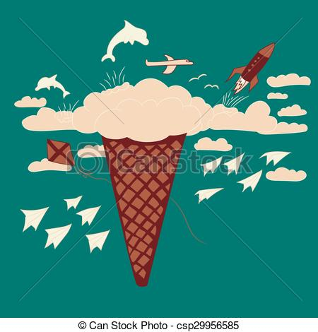450x470 Ice Cream Dream And Fantasy Illustration. Ice Cream Dream And