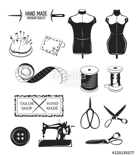 434x500 Set Of Designed Elements. Tailor Shop Theme. Male And Femeale