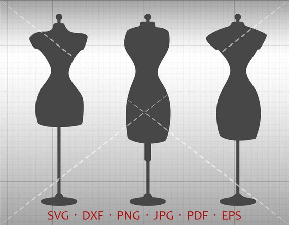 570x445 Sewing Dress Form Svg Dress Form Clipart Dxf Vector Etsy