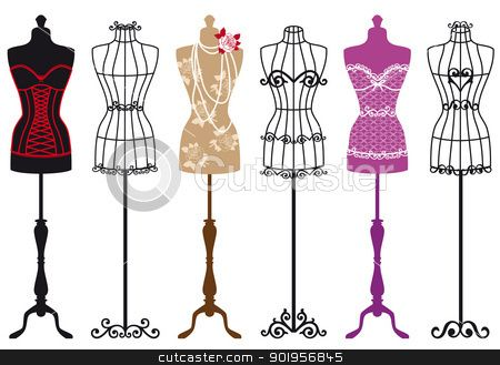 450x329 Sewing Dummy Mannequin Fashion Mannequins, Vector Set Vector