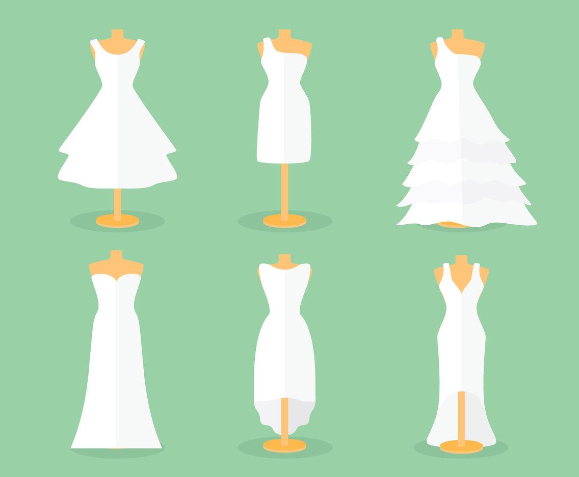 1136x936 Flat Bride Dress Vector Set Vector Art Amp Graphics