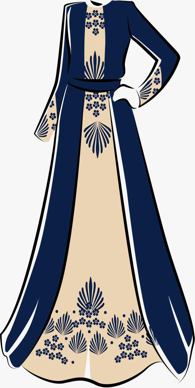 650x1292 Islamic Style Dress, Vector Png, Islam, Blue Pattern Png And
