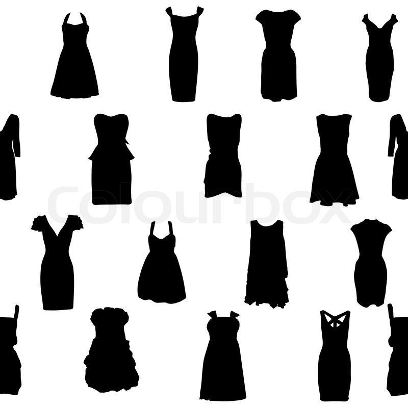 800x800 Set Of Dresses Silhouette Iseamless Pattern Vector Illustration