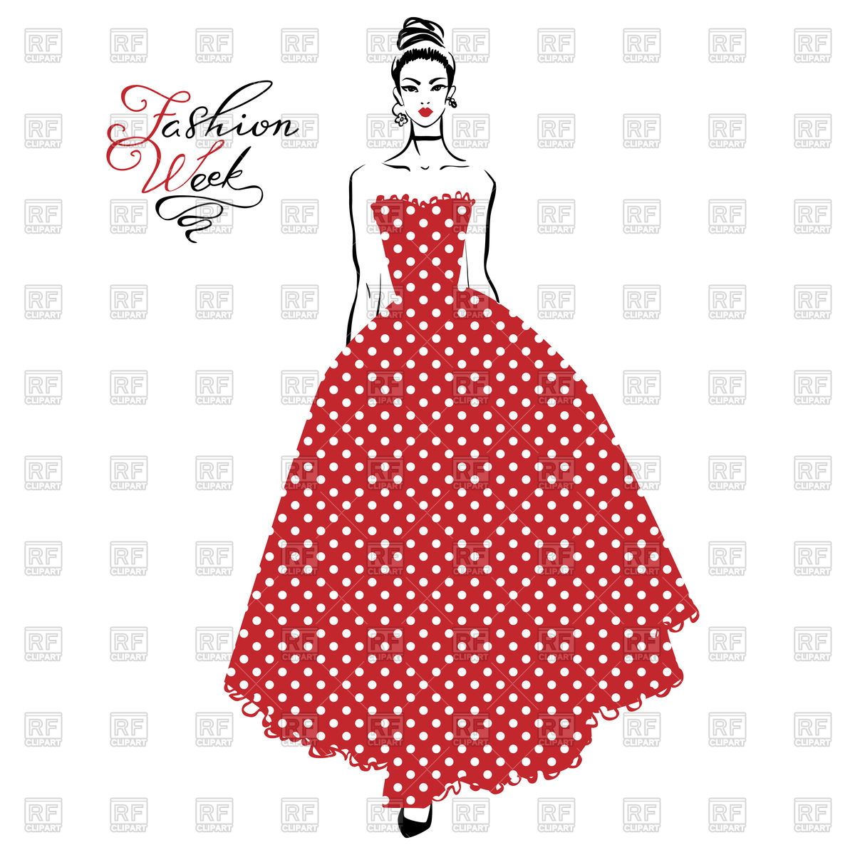 1200x1200 Beautiful Fashionable Girl In Long Red Dress Vector Image Vector