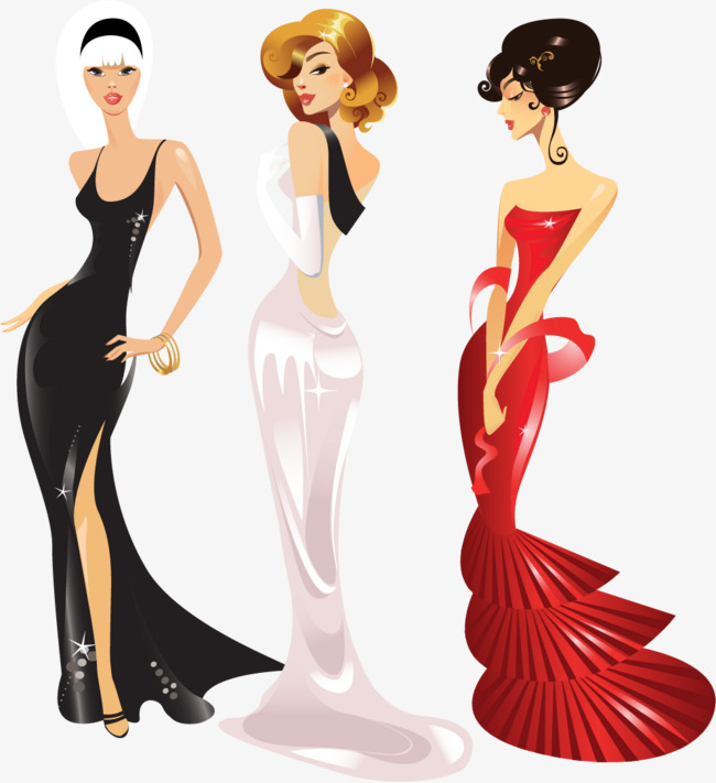 650x711 Vector Painted Evening Dress, Dress Vector, Vector, Hand Painted