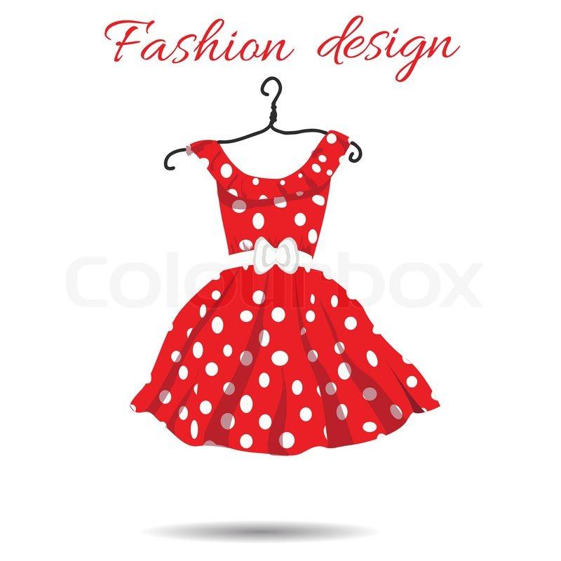 800x800 Vector Women Dress Polka Dot Illustration. Eps Stock Vector