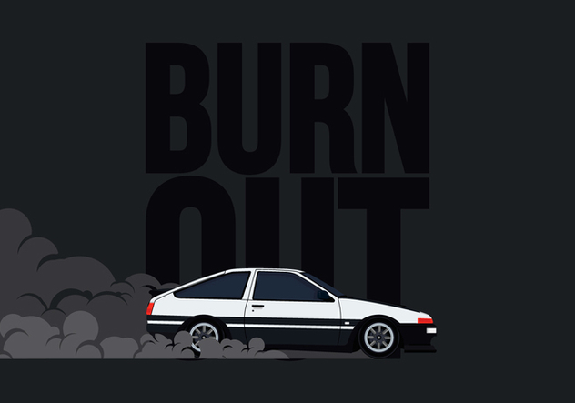 632x443 Ae86 Car Drifting And Burnout Illustration Free Vector Download