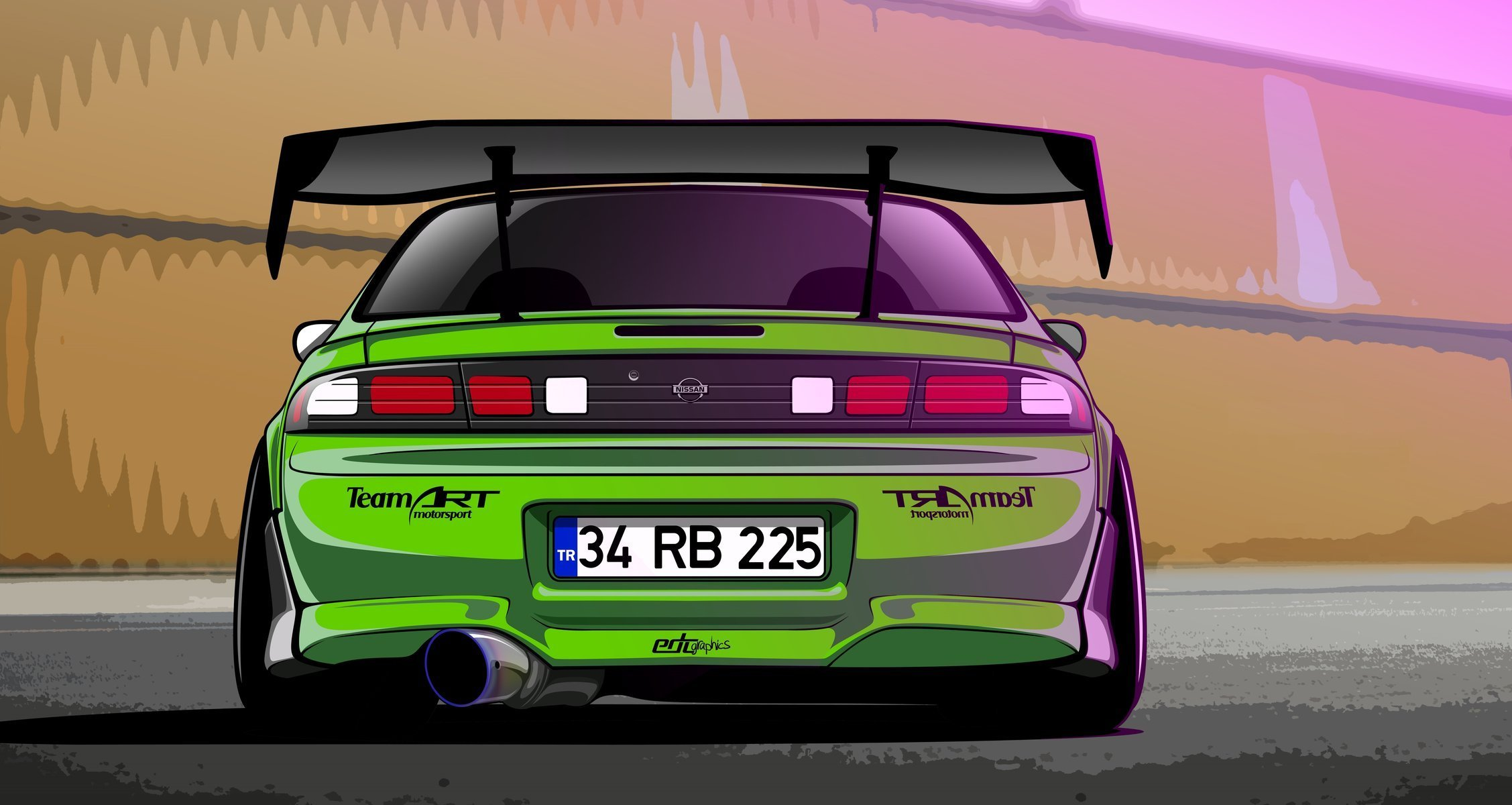 2255x1200 Nissan Silvia S14 200sx Green Drift Spec Vector By Edcgraphic Hd